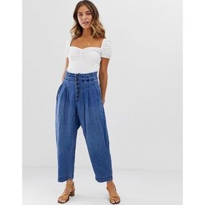 Free People Mover and Shaker Cotton Denim Pants 2